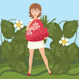 Girl and Large Strawberry. Vector Illustration of Girl and Large Strawberry Stock Illustration