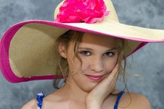 Girl in Large Sunhat Stock Photos