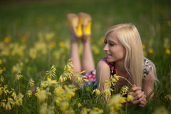 Girl in larkspur field Stock Photography