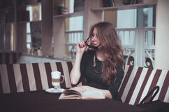 Girl with latte Royalty Free Stock Images