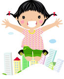 Girl laughing and jumping Royalty Free Stock Photography