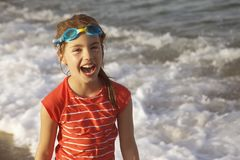 Girl Laughing Sea Stock Photography
