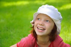 The girl laughs Stock Images