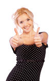 Girl laughs and lifts thumb Stock Image