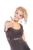 Girl laughs and lifts thumb Royalty Free Stock Images