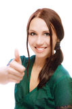 Girl laughs and lifts up thumb Stock Image