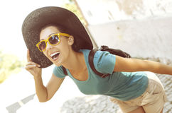Girl laughs Stock Photos