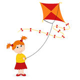 Girl launching kite Royalty Free Stock Images