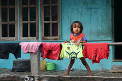Girl and a laundry Stock Image