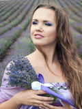 Girl with lavender Stock Photos