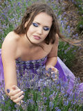 Girl with lavender Royalty Free Stock Photography