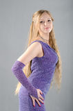 Girl in a lavender dress. Beautiful young girl in a lavender dress Royalty Free Stock Photos