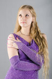 Girl in a lavender dress Royalty Free Stock Photos