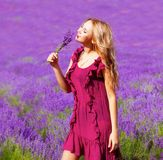 Girl in lavender field Royalty Free Stock Photography