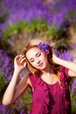 Girl in lavender field Stock Images