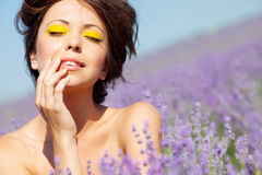 Girl on lavender field Stock Photo