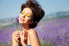 Girl on lavender field Royalty Free Stock Photo