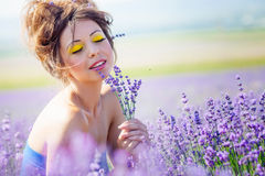 Girl on lavender field Royalty Free Stock Image