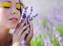 Girl on lavender field Royalty Free Stock Images