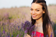 Girl on lavender field Royalty Free Stock Photos