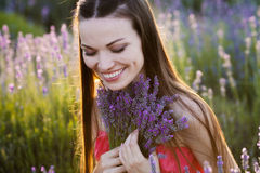 Girl on lavender field Stock Images