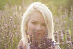 Girl on the lavender field Royalty Free Stock Photo