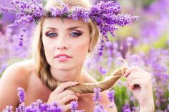 Girl on the lavender field Royalty Free Stock Images