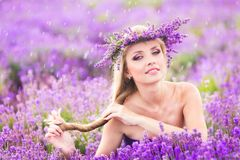 Girl on the lavender field Royalty Free Stock Photography