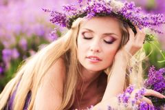 Girl on the lavender field Stock Photography
