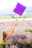 Girl on the lavender field Royalty Free Stock Image