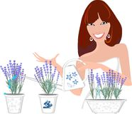 Girl with lavender flowers Royalty Free Stock Photo