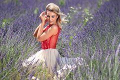 Girl, Lavender, Mov, Blonde, Dress Stock Photography