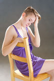 Girl in a lavender negligee Stock Photography