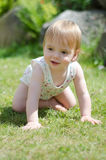 Girl on lawn. A 1 year old caucasian girl playing on a lawn Stock Photos