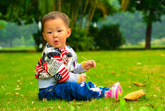 A girl on the lawn(Asia, China, Chinese) Stock Photos