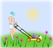 Girl with Lawn Mower. A blond girl mowing the grass wit a lawn Stock Image