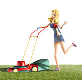 Girl and lawn mower. 3d rendering illustration, girl and lawn mower Royalty Free Stock Photos