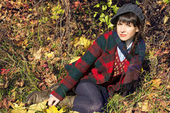 Girl lay on nature Stock Photography