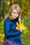 Girl with leaf Royalty Free Stock Images