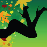 Girl on a leaf background vector silhouette Royalty Free Stock Photography