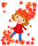The girl and a leaf fall. Illustration of a girl and a leaf fall Royalty Free Stock Images
