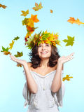 Girl and leaf fall Royalty Free Stock Images