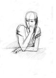 A girl leaned one's elbows. Picture of girl at the table leaning one's elbows on an elbow royalty free illustration