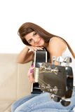 Girl leaning her face on the guitar Royalty Free Stock Photos