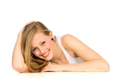 Girl leaning on table Stock Photos