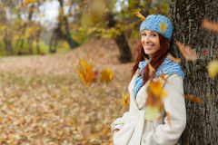 Girl leaning on tree in the park with falling leaves Stock Images