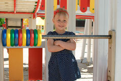 Girl learn cout playground. Smiling child girl play math cout playground Stock Photography