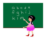 Girl learning alphabet. Child writing abc in a blackboard vector illustration