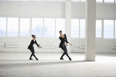 Girl Learning Ballet From Her Instructor Stock Image