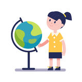 Girl learning geography with earth globe Stock Images